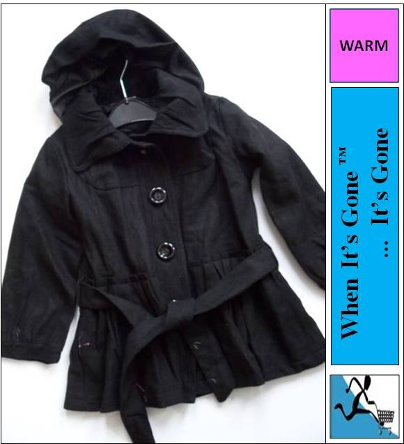 4-14-Years-Girls-Lined-Coat-Removable-Hood-Casual-Black