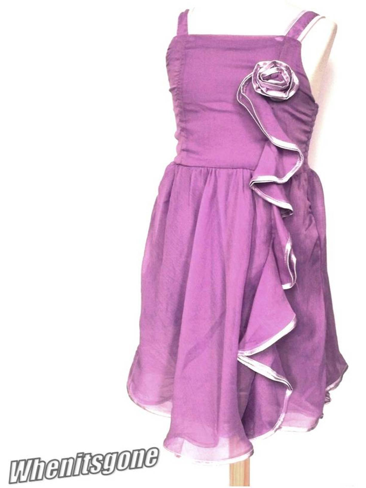 Girls-Chiffon-Rosette-Frill-Trim-Party-Dress-Pink-Purple-Grey-3-14-Years