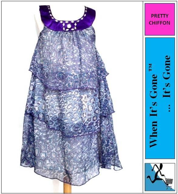 Girls Satin Chiffon Sleeveless Layered Dress Purple Print 4-10 Years